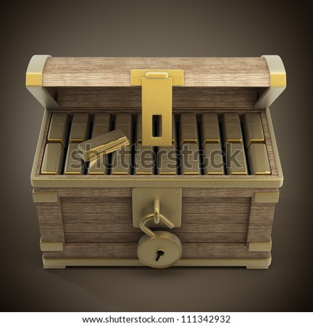 vintage wooden chest with gold high resolution 3d render