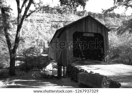 Vintage Wooden Covered Bridge in the Mountains
