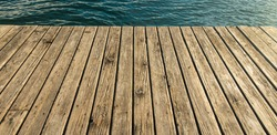 vintage wooden deck floor walk site waterfront pier horizontal simple background space with water surface outside view without people here