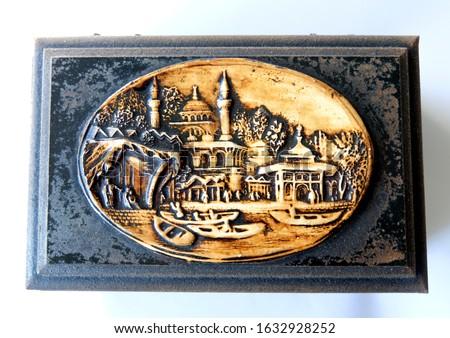 Vintage Wooden Jewellery Box Closeup Stok fotoğraf ©