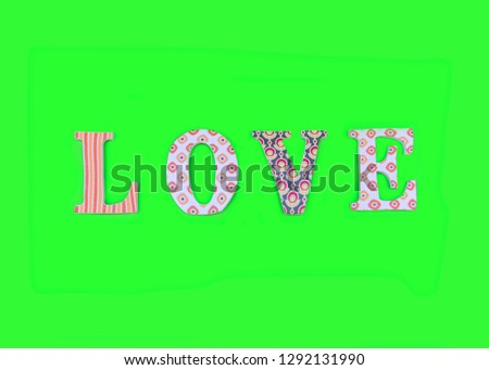 Vintage wooden love letters on green background with copy space. Romanticism concept. #1292131990