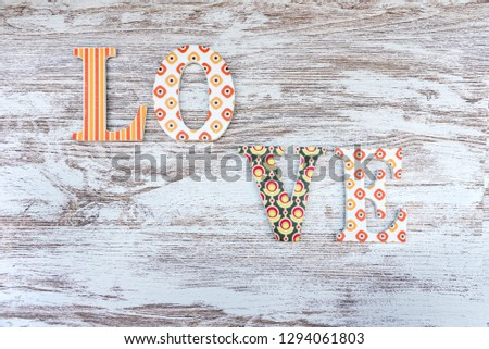 Vintage wooden love letters on rustic background with copy space. Romanticism concept. #1294061803