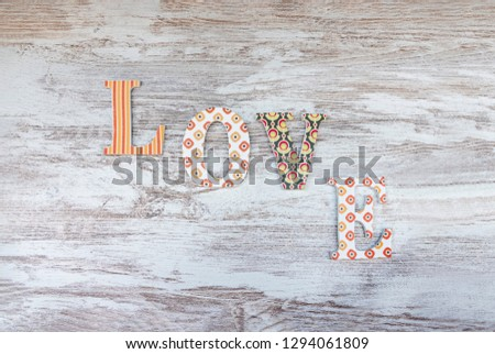 Vintage wooden love letters on rustic background with copy space. Romanticism concept. #1294061809