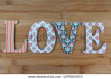 Vintage wooden love letters on rustic background with copy space. Romanticism concept. #1294061815