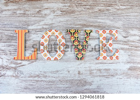 Vintage wooden love letters on rustic background with copy space. Romanticism concept. #1294061818
