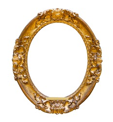 vintage wooden oval frame on white background isolated