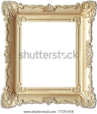 Vintage wooden picture frame isolated on white background