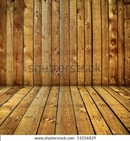 Vintage wooden room interior for product placement