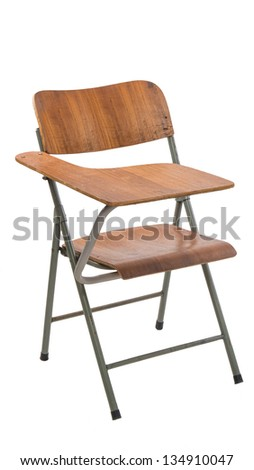 Vintage wooden school desk and chair, isolated on a pure white background