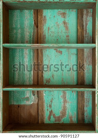 Vintage wooden shelf - stock photo