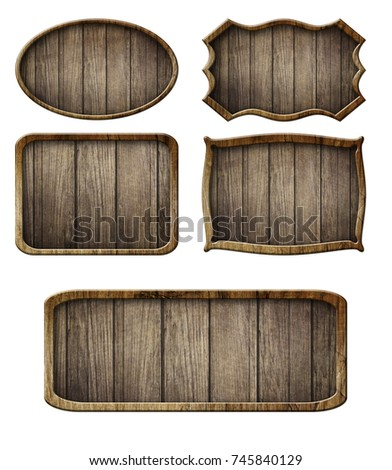 Vintage wooden signboard isolated on white background