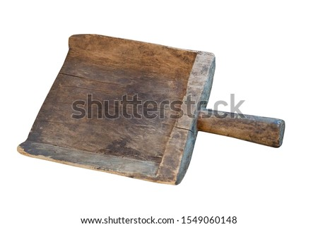 Vintage wooden spade isolated on a white background. wooden scoop top side view Stock fotó ©