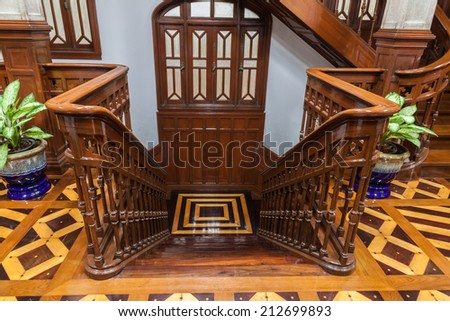 Vintage wooden staircase in vintage house,Thailand