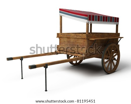 vintage wooden trade cart with striped tilt - 3d illustration isolated on white