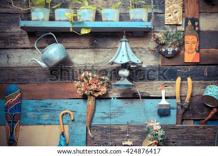 vintage wooden wall decorative at home #424876417