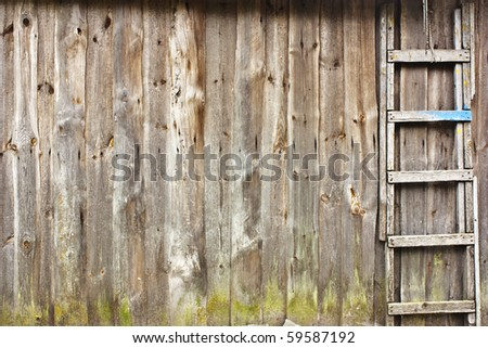 vintage wooden wall with a staircase