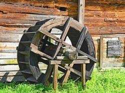 Vintage wooden water mill wheel, Pereiaslav-Khmelnytskyi, Ukraine