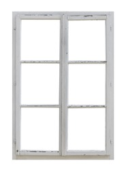 Vintage wooden window on white background