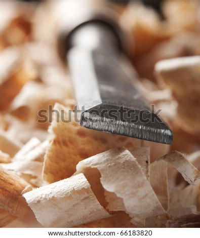 Vintage woodworking tool and wood chips, macro