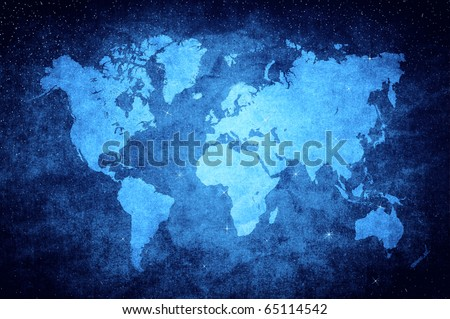vintage world map in blue glittering star style