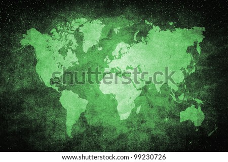 vintage world map in green glittering star style