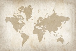 Vintage world map on old parchment paper texture
