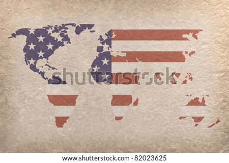 vintage world map with USA flag on paper craft (map from NASA)
