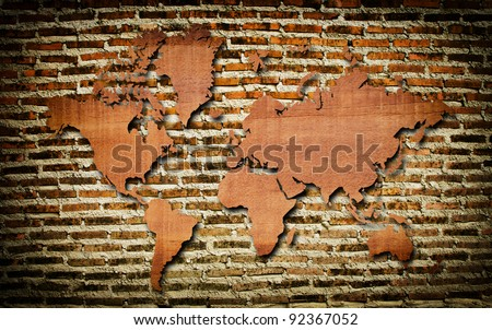 Vintage world map with vintage wall texture.