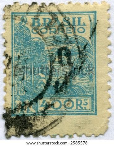 Vintage World Postage Stamp Ephemera brazil (editorial)