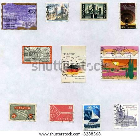 Vintage World Postage Stamp Ephemera (editorial)  collage montage collection