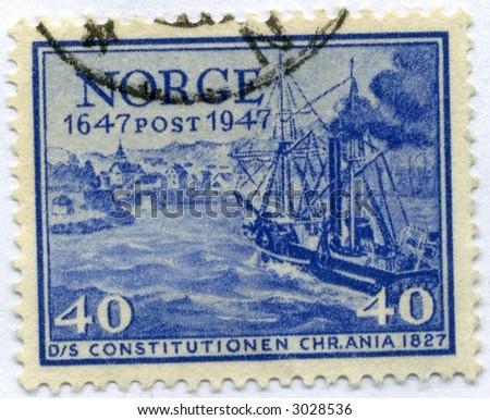 Vintage World Postage Stamp Ephemera norway (editorial)