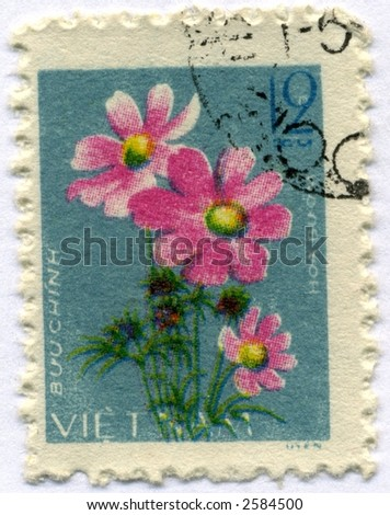 Vintage World Postage Stamp Ephemera viet nam(editorial)