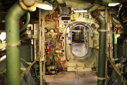 Vintage World War II submarine control room