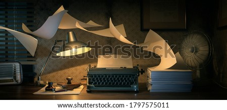 Vintage writer's desktop with typewriter and flying sheets, creativity and inspiration concept Stockfoto ©