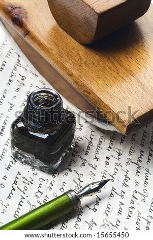 vintage writing tools nib ink bottle and an ink dryer on a letter stock photo 15655450. Black Bedroom Furniture Sets. Home Design Ideas