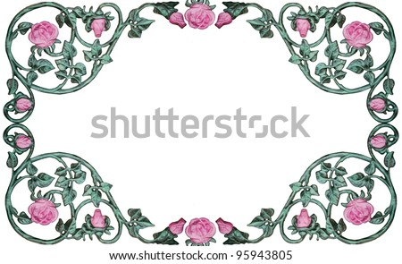 vintage wrought iron rose vine design as border, frame