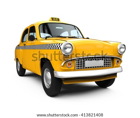 vintage yellow taxi isolated on ...