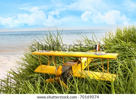 Vintage yellow toy plane in tall grass at the beach