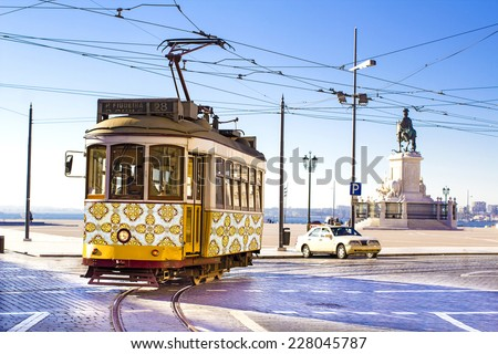 vintage yellow tramway at the...