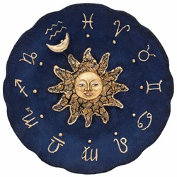 Vintage zodiacal astronomical clock, isolated on white background