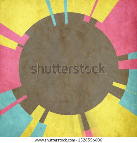 Vintagte colorful background.Pink,yellow and blue on Black color.Striped color on black
