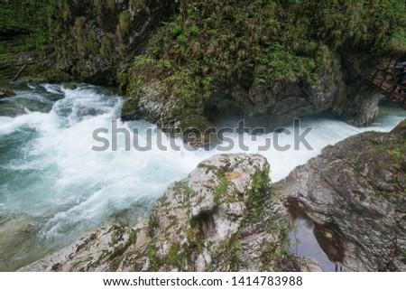 Vintgar Gorge in Julian Alps, Slovenia #1414783988