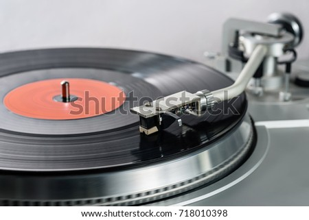 Vinyl player. Vinyl plate and needle close-up. #718010398