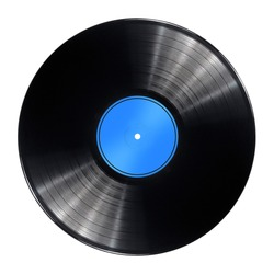Vinyl record disc with blue label isolated over a white background.