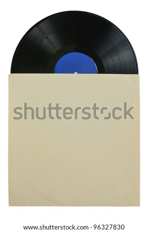 Vinyl record in a paper envelope isolated on white background