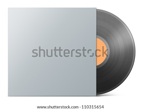 Vinyl record in blank cover envelope isolated path included