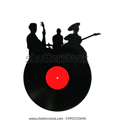vinyl record in the shape rock group 3d render 3D render on a white background