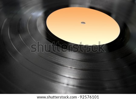 vinyl record lying in perspective