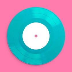 Vinyl Record Music, close up, blank for customisation of label, isolated and presented in punchy pastel colors, for nostalgic retro creative design