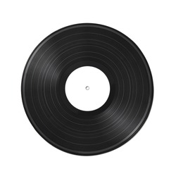 Vinyl record on a white background. Old vintage vinyl record isolated on white background